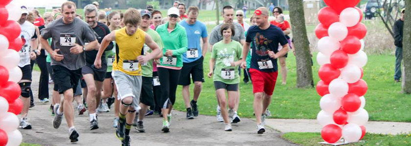 a group of runners during a fun run